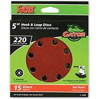 Gator 4140 Random Orbit Sanding Disc, 220-Grit, Extra Fine Grade, Aluminum Oxide, 5 in Dia