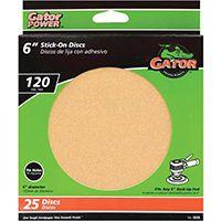 Gator 3243 Stick-On Sanding Disc, 120-Grit, Fine Grade, Aluminum Oxide, 6 in Dia, For 6 in Dia Sander Pads