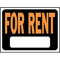 SIGN FOR RENT 9X12IN PLASTIC