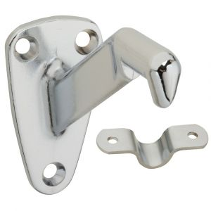National Hardware N274-258 Handrail Bracket with Strap, 250 lb Weight Capacity, Zinc, Satin Chrome