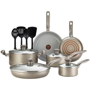 T-Fal Initiatives Ceramic Nonstick Cookware Set44; Champagne - 14 Piece Set