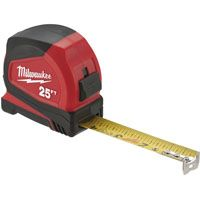Milwaukee 48-22-6625 Tape Measure, 25 ft L x 1.65 in W Blade, Steel Blade, Black/Red
