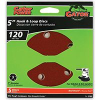 "5"" 5HOLE HOOK/LOOP 120GRIT 5PK"