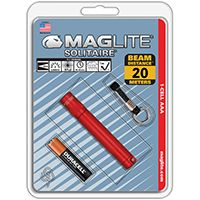MagLite K3A036 Flashlight, Incandescent Lamp, Alkaline Battery, Red