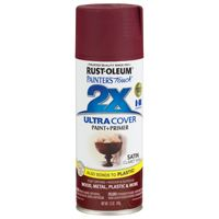 RUST-OLEUM PAINTER'S Touch 249083 General-Purpose Satin Spray Paint, Satin, Claret Wine, 12 oz Aerosol Can