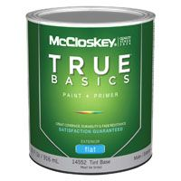 McCloskey 14552 Exterior House Paint, Tint Base, Flat, 1 qt