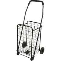 Worldwide Sourcing Foldable Shopping Cart, 88 Lb, 19 In L X 14 In W X 38 In H, Solid Rubber Tires, Black