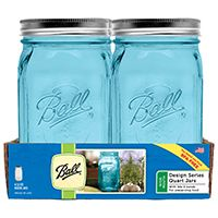 Ball Collection Elite Series 1440069024 Wide Mouth Mason Jar, 32 oz Capacity, Glass, Silver Cap/Lid