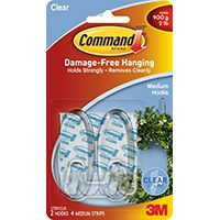 Command 17091CLR Adhesive Hook, 2 lb Weight Capacity, Plastic