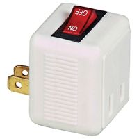 Eaton Cooper Wiring BP4404W Polarized Plug-In Switch, 15 A, 2-Pole, 1-Outlet, White