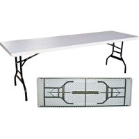 Simple Spaces Banquet Table With Folding Leg, Lightweight Steel, White