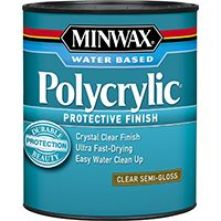 Minwax Polycrylic 24444 Protective Finish Paint, Crystal Clear, Semi-Gloss, 0.5 pt Can