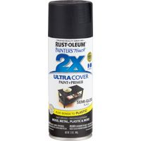 RUST-OLEUM PAINTER'S Touch 249061 All-Purpose Semi-Gloss Spray Paint, Semi-Gloss, Black, 12 oz Aerosol Can
