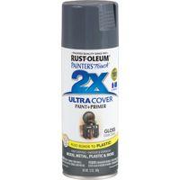 RUST-OLEUM PAINTER'S Touch 249115 General-Purpose Gloss Spray Paint, Gloss, Dark Gray, 12 oz Aerosol Can