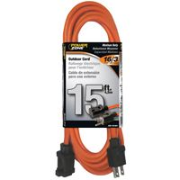 CORD EXT OUTDOOR 16/3X15FT ORG