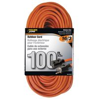 CORD EXT OUTDR 16/3X100FT ORG