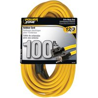 CORD EXT OUTDR 12/3X100FT YEL