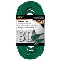 CORD EXT OUTDOOR 16/3X80FT GRN