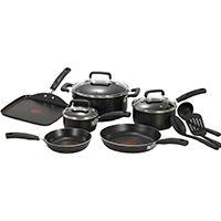 T-fal C530SC74 Non-Stick Cookware Set, Aluminum, Black, 12-Piece