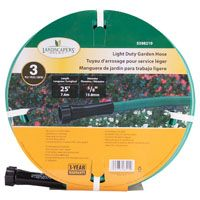 Landscapers Select Light Duty Garden Hose, 5/8 In Od X 25 Ft L, Pvc Outer Jacket, Brass Coupling