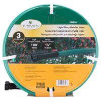 Landscapers Select Light Duty Garden Hose, 5/8 In Od X 100 Ft L, Pvc Outer Jacket, Brass Coupling