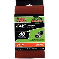 3X24IN 40GRIT ALUM OX BELT 2PK
