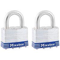 Master Lock 5T Keyed Padlock, 2 in W Body, 1 in H Shackle, Steel