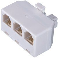 ADAPTER PHONE OUTLET 3-WAY WHT