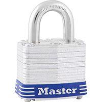 Master Lock 3D Keyed Padlock, 1-9/16 in W Body, 3/4 in H Shackle, Steel