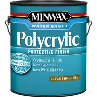 Minwax Polycrylic 14444000 Protective Finish Paint, Crystal Clear, Semi-Gloss, 1 gal Can