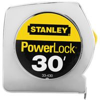 STANLEY 33-430 Measuring Tape, 30 ft L x 1 in W Blade, Steel Blade, Chrome