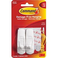 Command 17001 Utility Hook, 3 lb Weight Capacity, Plastic