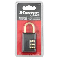 Master Lock 647D Combination Padlock, 1-3/16 in W Body, 7/8 in H Shackle, Zinc