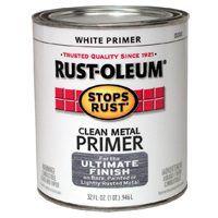 RUST-OLEUM STOPS RUST 7780502 Clean Metal Primer, Flat, White, 1 qt