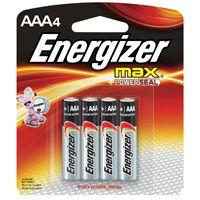 Energizer E92BP-4 Alkaline Battery, AAA, Zinc, Manganese Dioxide, 1.5 V