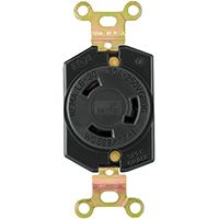 RECPT SINGLE LOCK 30A 250V BLK