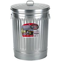 GARBAGE CAN W/LID GALV 31 GAL