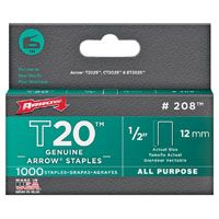 Arrow T20 Series 208 Flat Crown Staple, 1/2 in L Leg
