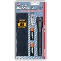 MagLite M2A01H Flashlight, 3 VDC, Xenon Lamp, Alkaline Battery, Black