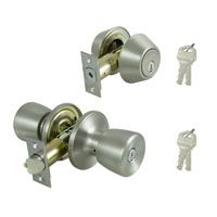ProSource Combo Deadbolt And Knob Set, 2-3/8 - 2-3/4 In Backset, Kw1 Keyed, Solid Brass, Stainless Steel