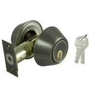 ProSource Double Cylinder Deadbolt, 2-3/8 - 2-3/4 In Backset, 2-3/16 X 1-11/16 In Full-Lip Round Corner Strike