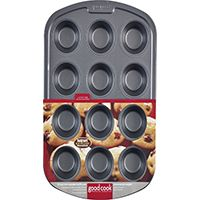Goodcook 04031 Muffin Pan, 12-Compartment, Steel
