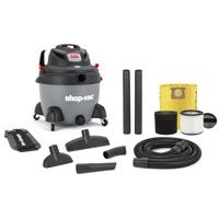 Shop-Vac Wet/Dry Corded Utility Vacuum, 150 cfm, 16 gal Tank Capacity, 2-1/2 in x 8 ft, 12 ft L Cord, 6.5 hp, 12 A
