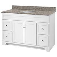 Foremost Worthington WRWA4821D Bathroom Vanity, 47-1/2 in W x 21-5/8 in D Cabinet, Wood, White