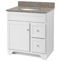 Foremost Worthington WRWA3021D Bathroom Vanity, 47-1/2 in W x 21-5/8 in D Cabinet, Wood, White