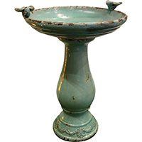 Alpine TLR102TUR Antique Ceramic Birdbath, Ceramic, Turquoise