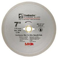 MK 167029 Circular Saw Blade, 7 in Dia, Diamond Cutting Edge, 7/8 to 5/8 in Arbor