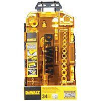DeWALT DWMT73804 Socket Set, Polished Chrome Vanadium, 34-Piece