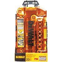 DeWALT DWMT73813 Metric/SAE Socket Set, Chrome, 23-Piece