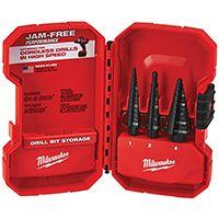 Milwaukee 48-89-9221 Dual Flute Step Drill Bit Set, HSS, Black Oxide, 3-Piece
